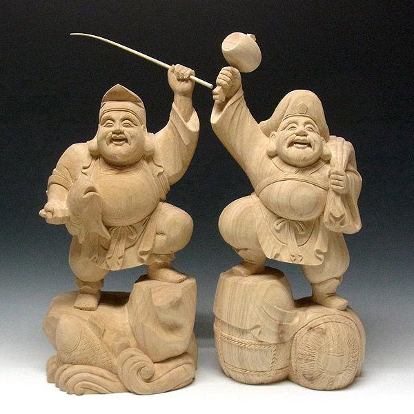 楠/樟(クス) 恵比寿大黒 高さ54cm (販売・木彫り)