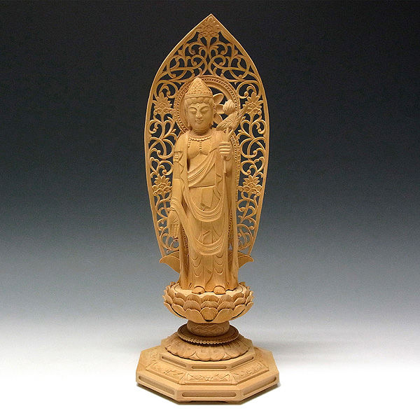 柘植/黄楊(ツゲ)  聖観音菩薩 高さ:32cm (販売・木彫り)