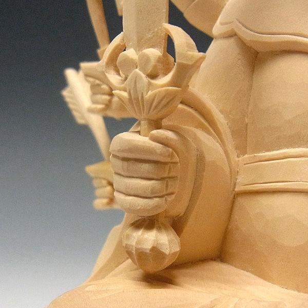 柘植/黄楊(ツゲ) 八臂弁財天(はっぴ弁財天) 高さ:20cm (販売・木彫り)