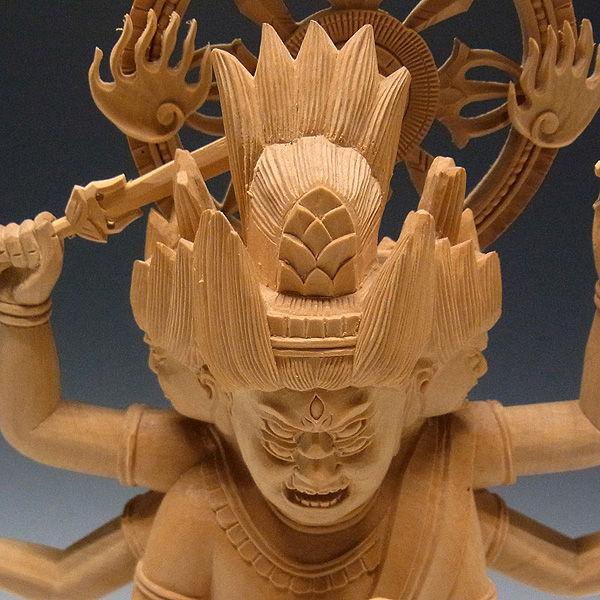 柘植/黄楊(ツゲ) 金剛夜叉明王 高さ:40cm (販売・木彫り)