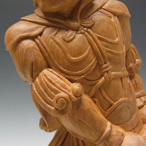 木曽桧/檜(きそひのき) 十二神将 辰神 波夷羅大将 はいら 全体高:38cm 【国内仏師(日本仏師)作品】 (販売・木彫り)