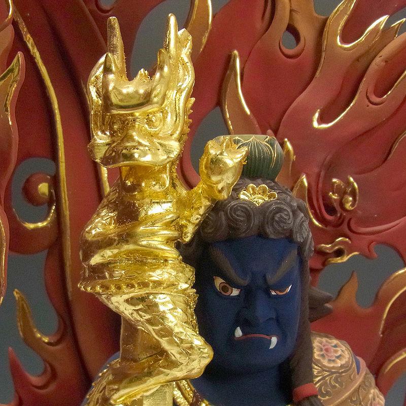 楠/樟(クス) 彩色 不動三尊(倶利伽羅剣・火炎巻光背)坐像 二童子矜羯羅(こんがら)・制多迦(せいたか)  高さ:54cm (販売・木彫り)