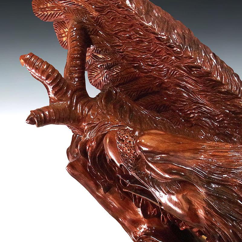 花梨(カリン) 木彫りの鷹 幅:120cm 高さ:136cm (販売・木彫り)