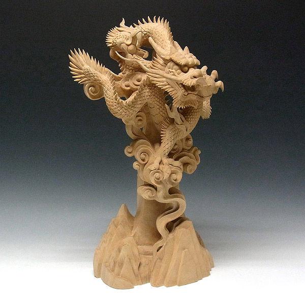 楠/樟(クス) 白木 山龍 高さ48cm (販売・木彫り)