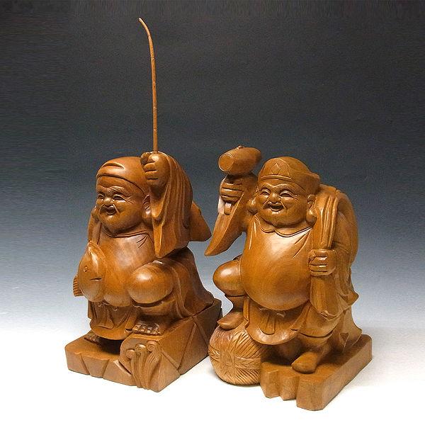 桧/檜(ヒノキ) 恵比寿大黒 高さ:45cm (販売・木彫り)