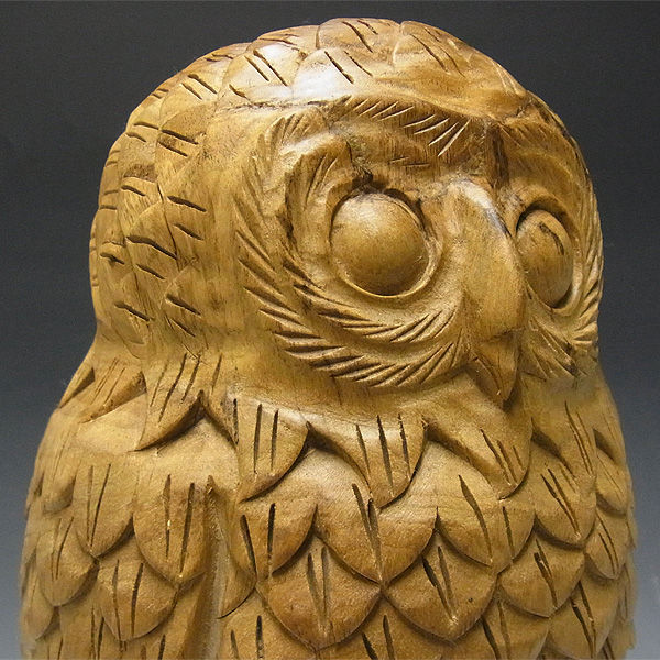 【特別プライス】楠/樟(クス) 木彫りふくろう 高さ:37cm
