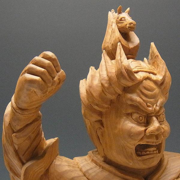 木曽桧/檜(きそひのき) 十二神将 午神 珊底羅大将 さんちら・さんていら 全体高:38cm 【国内仏師(日本仏師)作品】 (販売・木彫り)