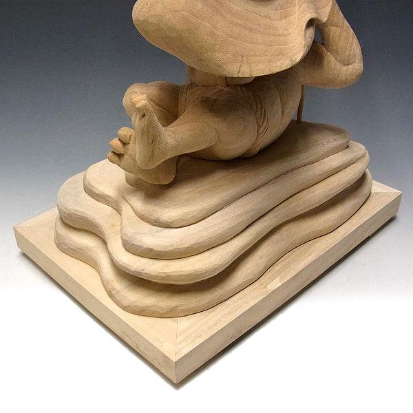 楠/樟(クス) 白木 毘沙門天 高さ:67cm(持物を含むと80cm) (販売・木彫り)