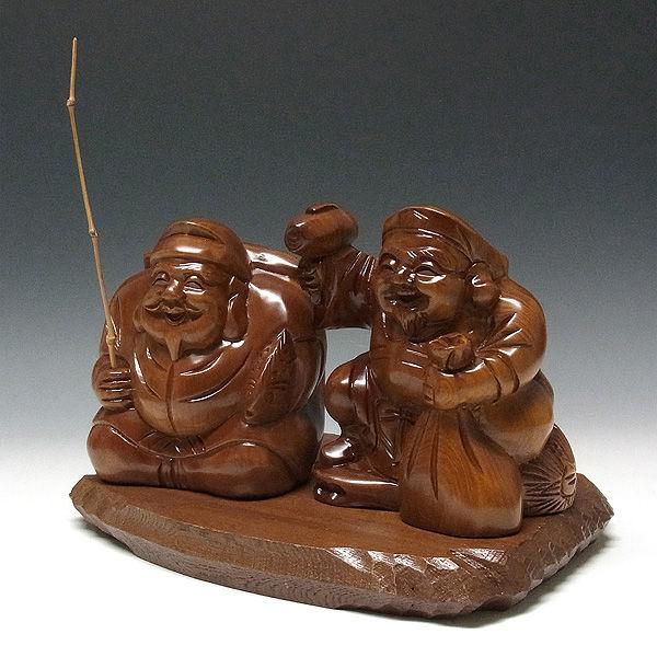 台湾桧/檜(たいわんひのき) 恵比寿大黒セット(台付) 幅29cm (販売・木彫り)
