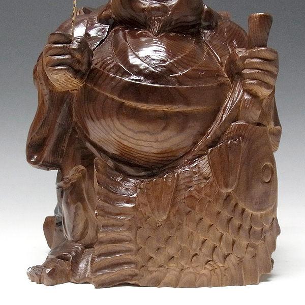 杉/椙(スギ) 恵比寿大黒 高さ25cm (販売・木彫り)