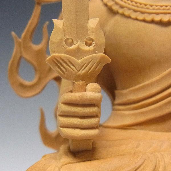 柘植/黄楊(ツゲ) 不動明王 (坐像) 八体仏(守り本尊 酉) 高さ:25cm (販売・木彫り)