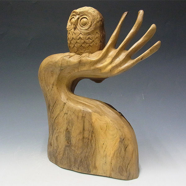 【特別プライス】楠/樟(クス) 木彫りふくろう 高さ:35cm