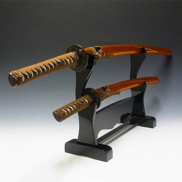 模造刀 金茶(大・小)&木台 セット (販売・木彫り)