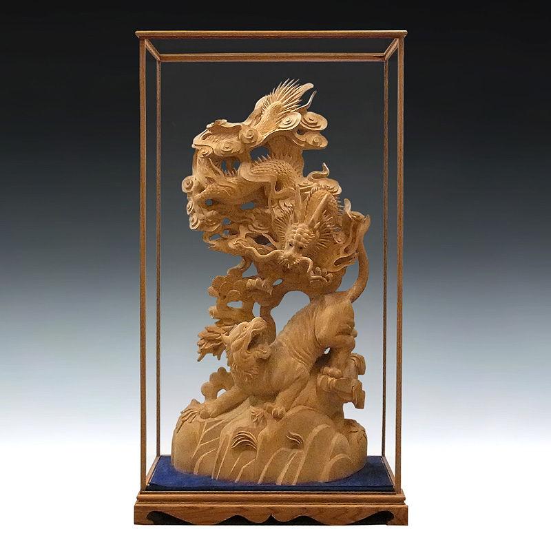 極上彫 楠/樟(クス) 龍虎 高さ:85cm (ガラスケース付き:99cm) (販売・木彫り)