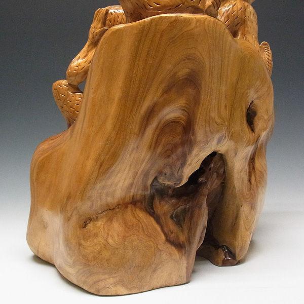 楠/樟(クス) 三猿(さんざる・さんえん) 見ざる聞かざる言わざる 高さ:52cm (販売・木彫り)