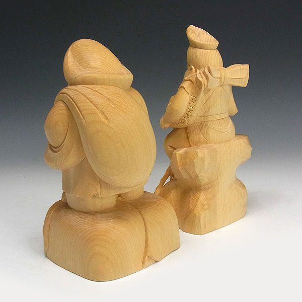桧/檜(ヒノキ) 恵比寿大黒  高さ:22cm (販売・木彫り)