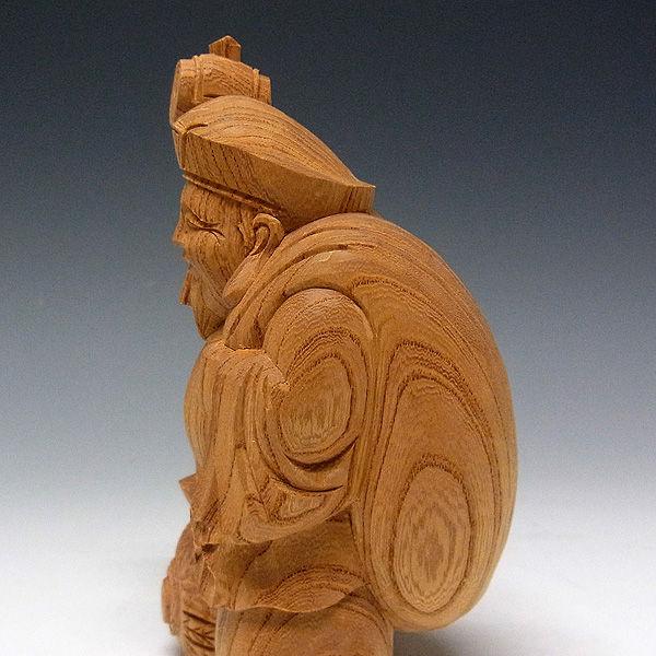 国産欅(ケヤキ) 恵比寿大黒 高さ:16cm (販売・木彫り)