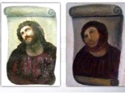 フレスコ画 スペインのボルハ市にある教会の柱に描かれた古いフレスコ画を、一般信者が善...  Y
