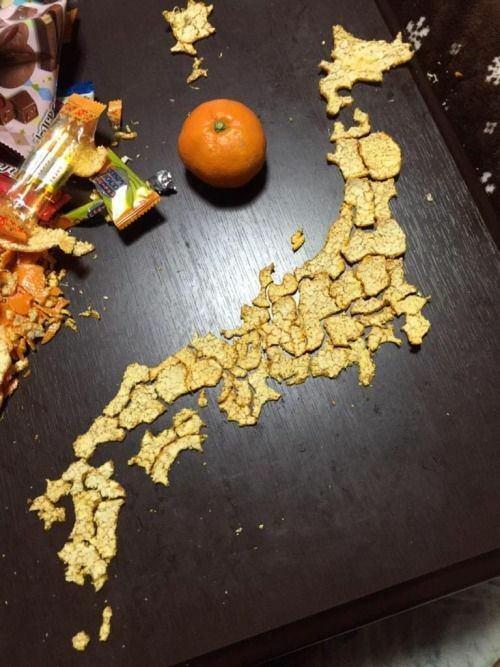 【驚愕】みかんの皮で作った日本列島が凄すぎるwwwwwwww【画像あり】ww