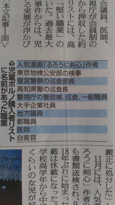 新聞「児ポ違法購入者の本名の公開はやめとくわ。職業だけにする」