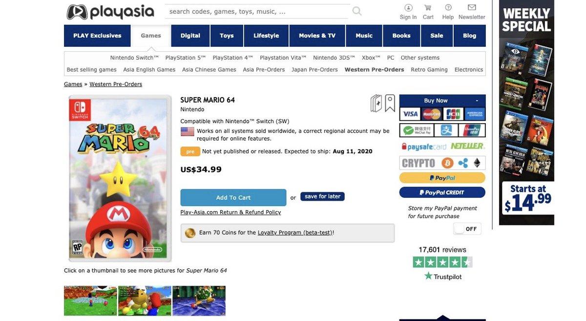 【願望スレ】Switch『スーパーマリオ64』8月11日に3980円+税 うおおおおおおおおお!!!