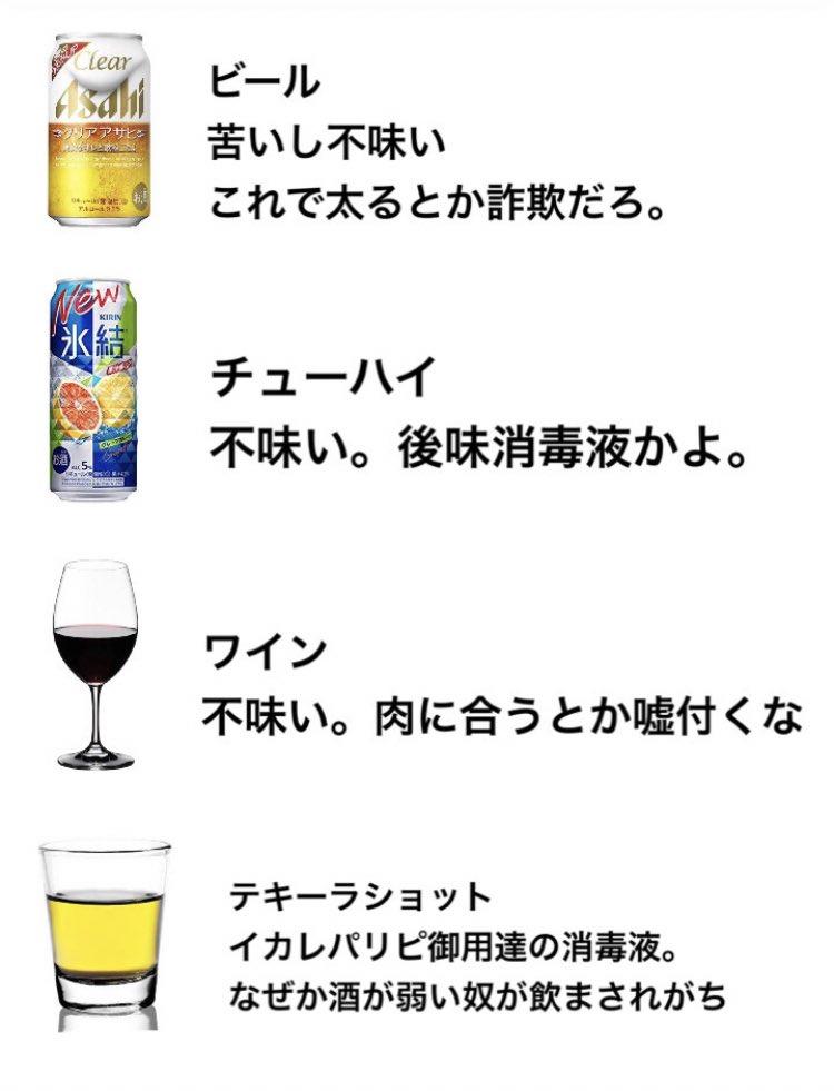 【わかりみ?】ツイッターの自作「酒が苦手な奴の酒の感想とイメージ」が人気に