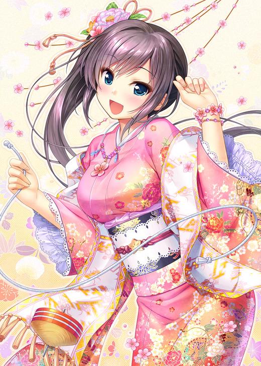 千の刃濤、桃花染の皇姫(稲生 滸)着物姿、画像