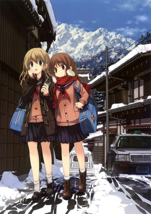 イラスト:るちえ 二次元の女の子2人組(セーラー服にカーディガン)可愛い画像