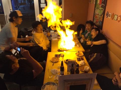 打ち上げ。炎と竜二さんってどうよ(笑)