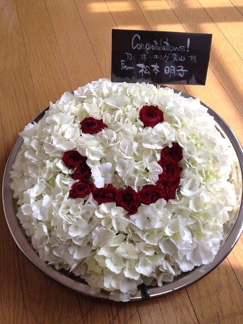 松本明子さんからお花を頂戴した。ありがたい