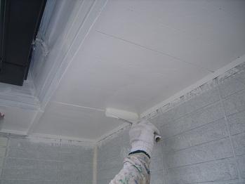 軒裏塗装上塗2回目