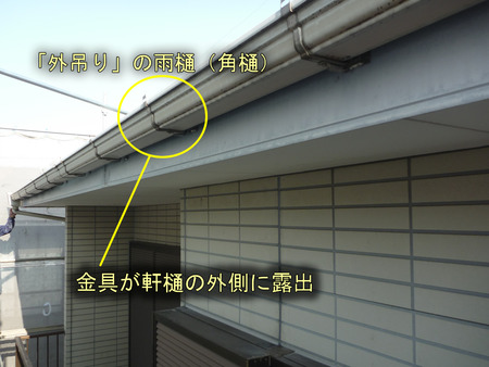 外吊りの軒樋(角樋)