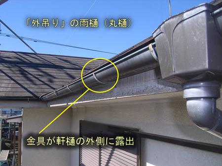 外吊りの軒樋(丸樋)