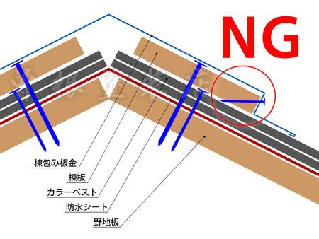 棟包み板金の釘の打ち方の違い