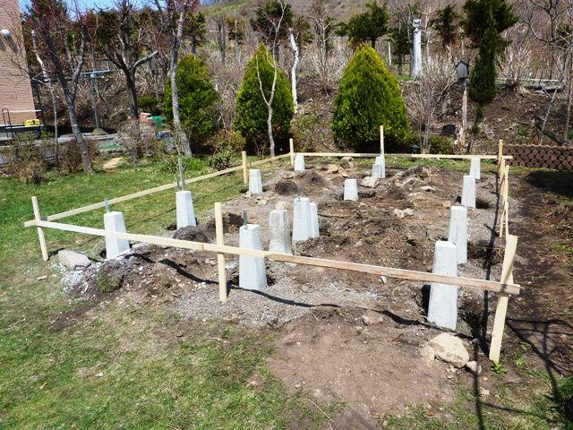 ログハウス基礎工事開始