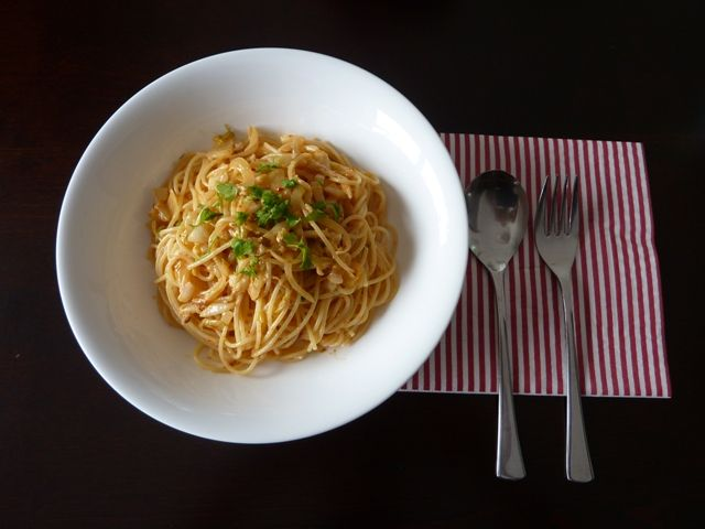 キムチのクリームスパゲッティ