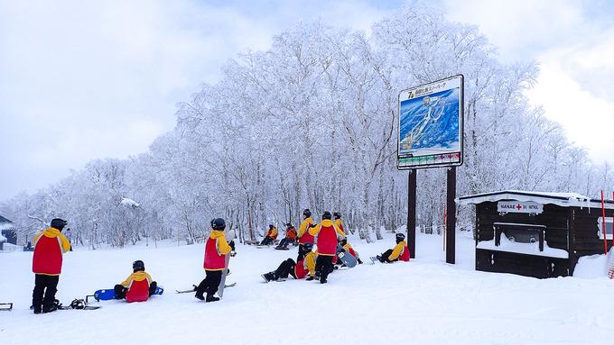 colorful ski slopes