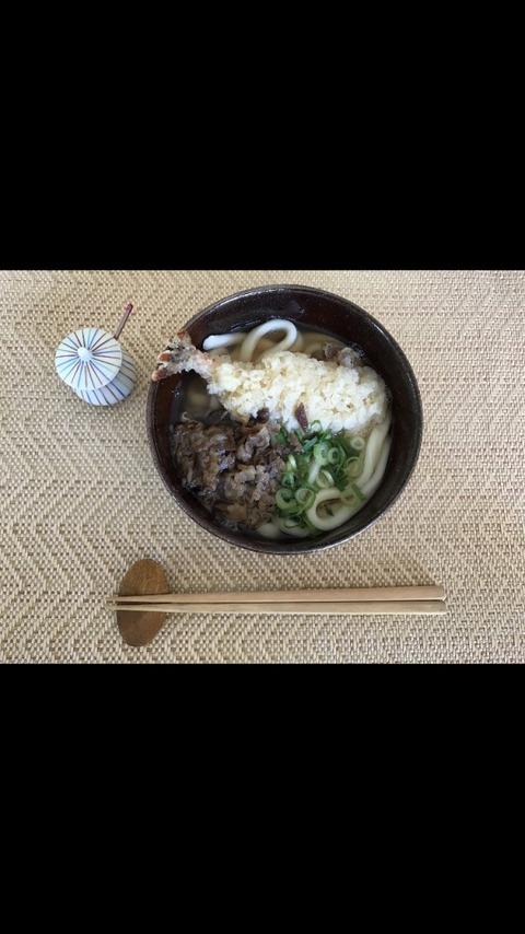大力天ぷらトッピング肉うどん