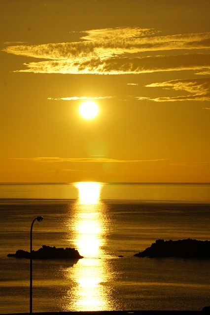 佐渡敷島荘からの夕陽