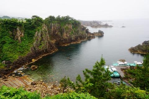雨の尖閣湾海中透視舟