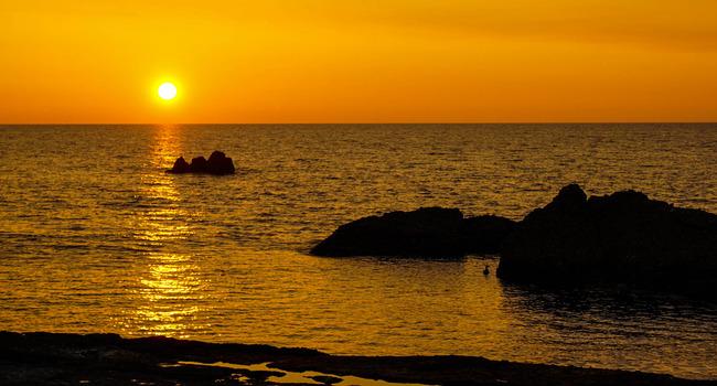 千畳敷からの夕陽2