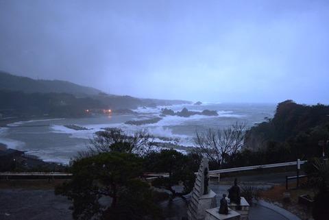 佐渡尖閣荘部屋からの眺め冬