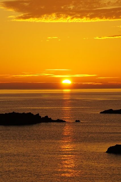 佐渡敷島荘からの夕陽2
