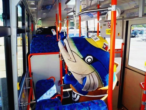佐渡天然ブリカツ丼PR担当ブリカツくんがバスに乗る!