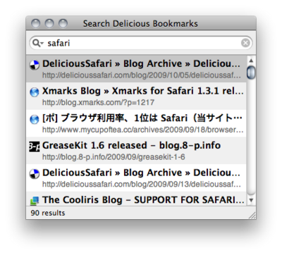 Search Delicious Bookmarks