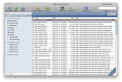SafariCacheExplorer Screenshot