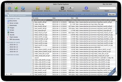 SafariCacheExplorer Screenshot