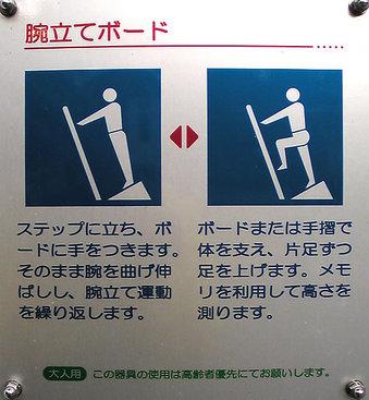 20100424 鷺宮6丁目 鷺六公園 健康づくり 中野区 健康器具 腕立てボード 使用説明