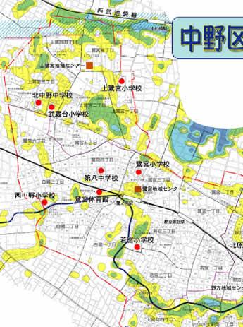 2006年8月発表洪水危険箇所地図:中野区鷺宮地域