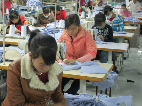 a small sewing factory in North Vietnam